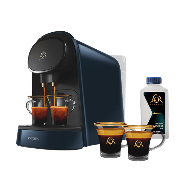 Machine L'OR BARISTA® Midnight Blue + deux tasses + un détartrant