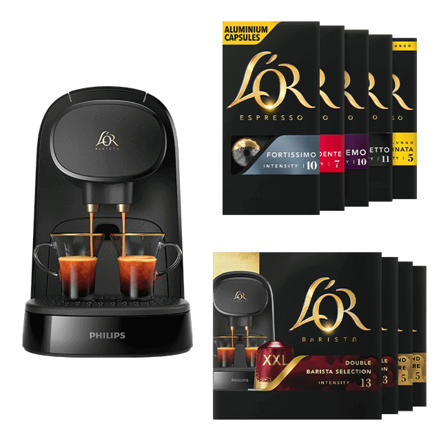 150 L'OR Kapseln = L'OR BARISTA Piano Noir Maschine gratis